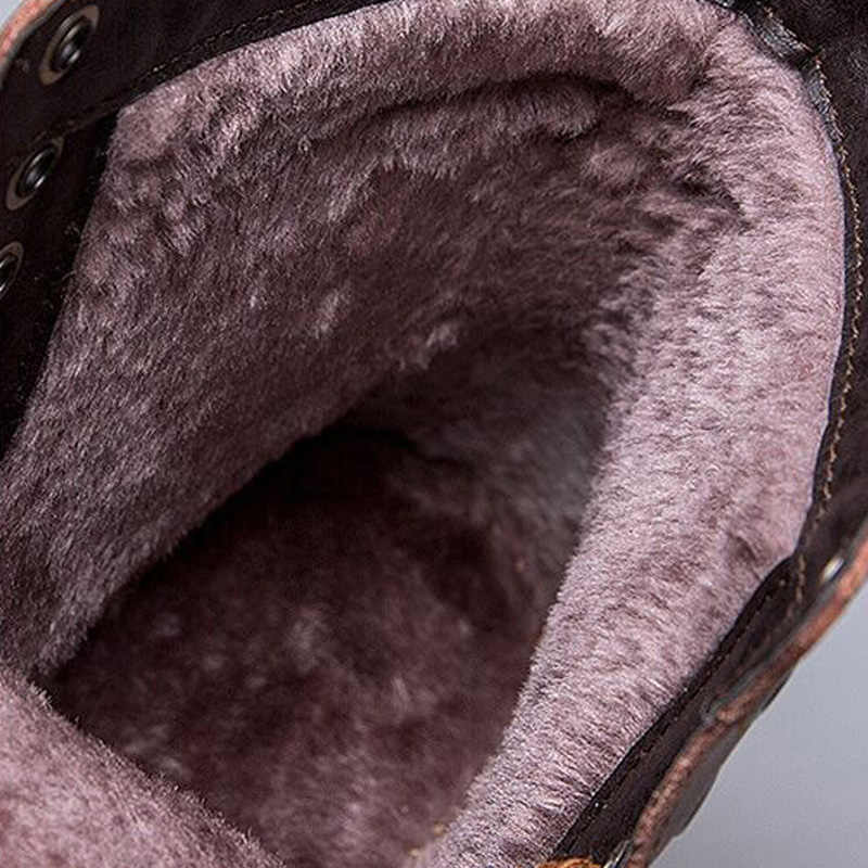 2019 hiver nouveau cuir mi moto hommes bottes chaussures neige avec fourrure en peluche chaud Vintage classique mâle décontracté bottes