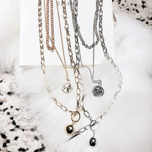 Retro Silver Gold Portrait Round Pendant Necklace Boho Figure Carved Coin Necklaces Layered long Chain Choker Women Jewelry F34 gold color hanging portrait coin chain choker necklace female layered charms pendant chokers necklaces bohemia jewelry