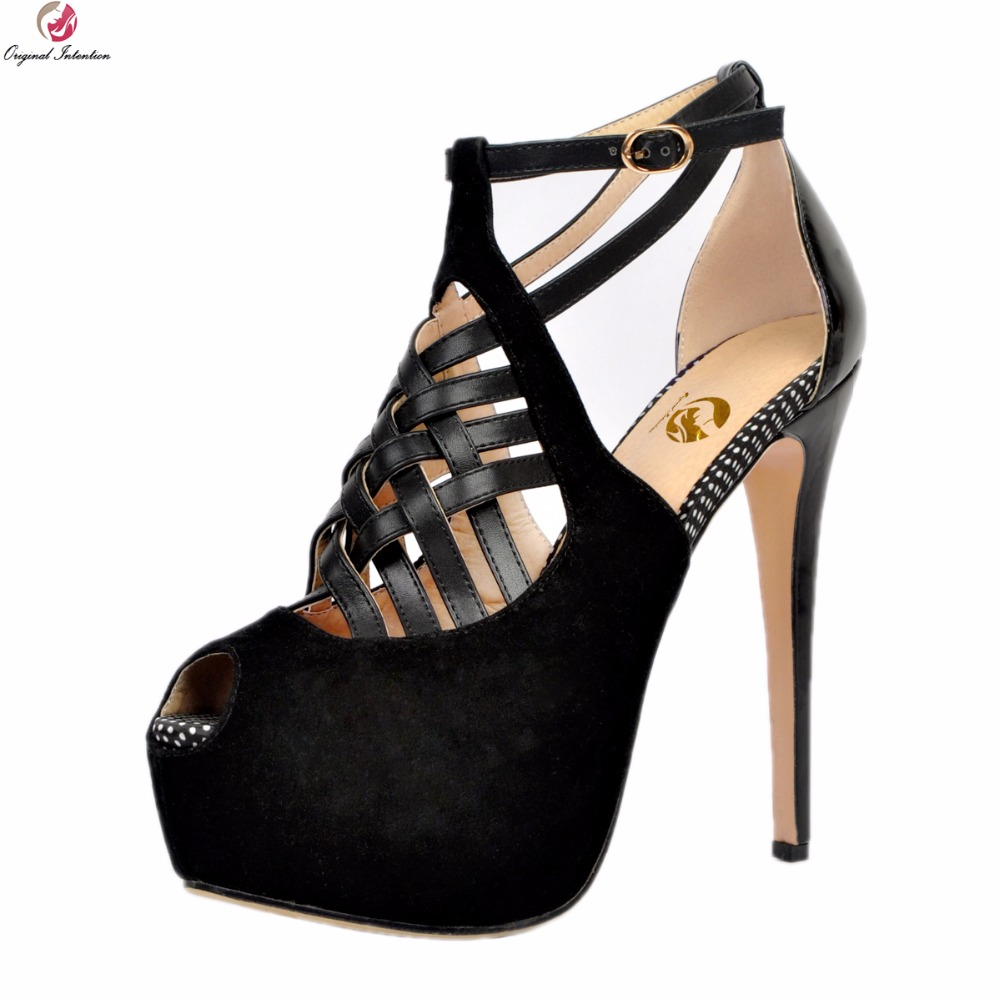 Original Intention New Sexy Women Sandals Fashion Peep Toe Thin High Heels Sandals Elegant Black Shoes Woman Plus US Size 4-15 hercules утэ 004