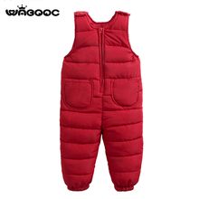 WABOOC Children Kid Cotton Overalls 2018 Autumn Winter New Boy Girl Pure Color Down Bib Pants Toddler Baby Jumpsuits