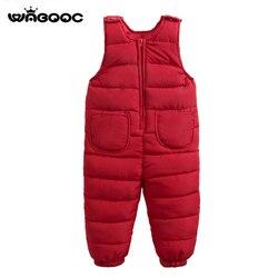 WABOOC Children Kid Cotton Overalls 2018 Autumn Winter New Boy Girl Pure Color Down Cotton Bib Pants Toddler Baby Jumpsuits