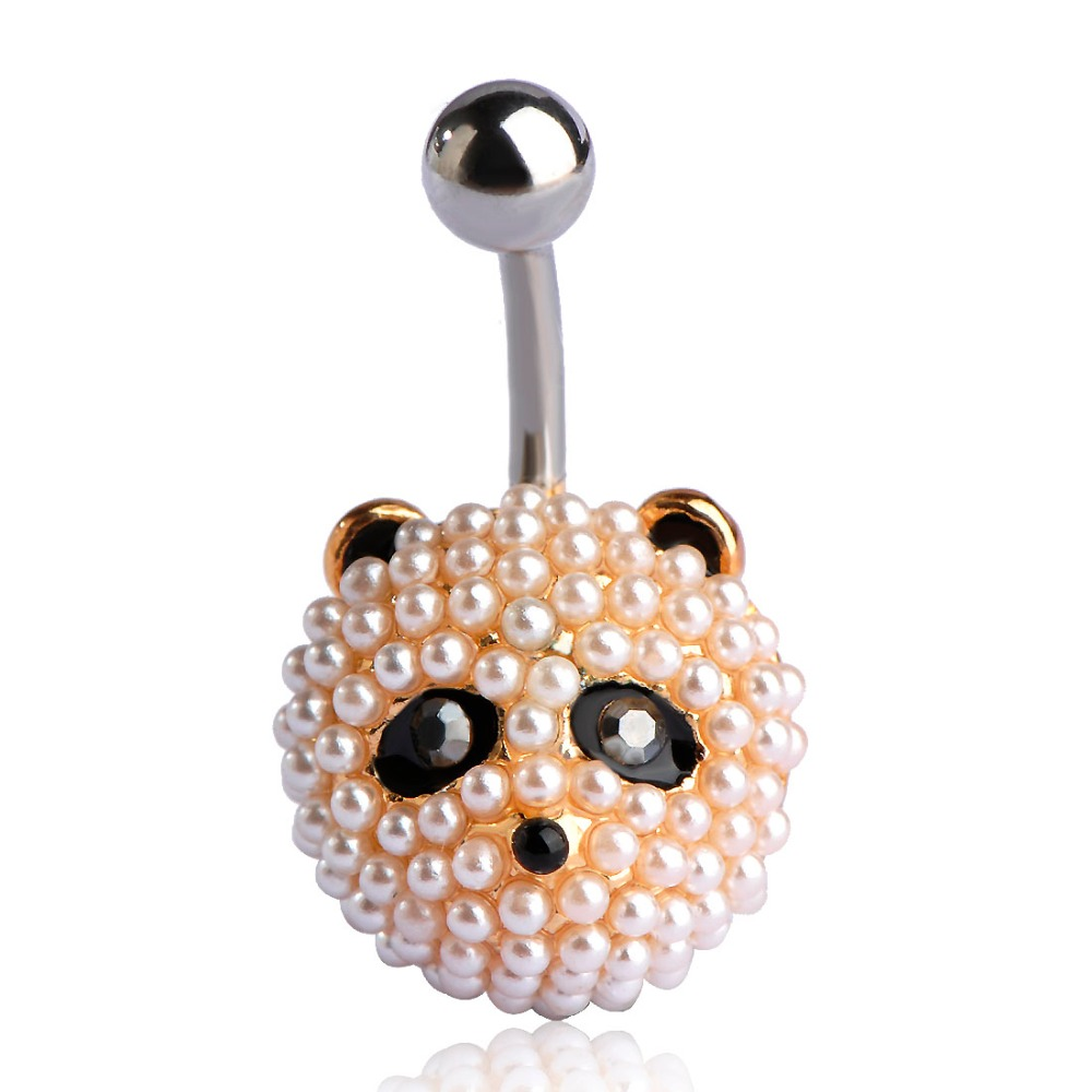 New Gold Ouro Body Piercings Navel Belly Button Rings Pearl Beach Jewelry Cute Panda With Enamel Esmaltes Animal Piercing Lot