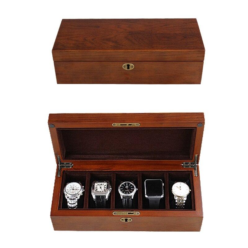 2019 Nieuwe 5 Grids houten Watch Case Box Behuizing voor Uur Schede voor Uur Doos voor uur Horloge-in Opruimdozen & Afvalbak van Huis & Tuin op  Groep 1