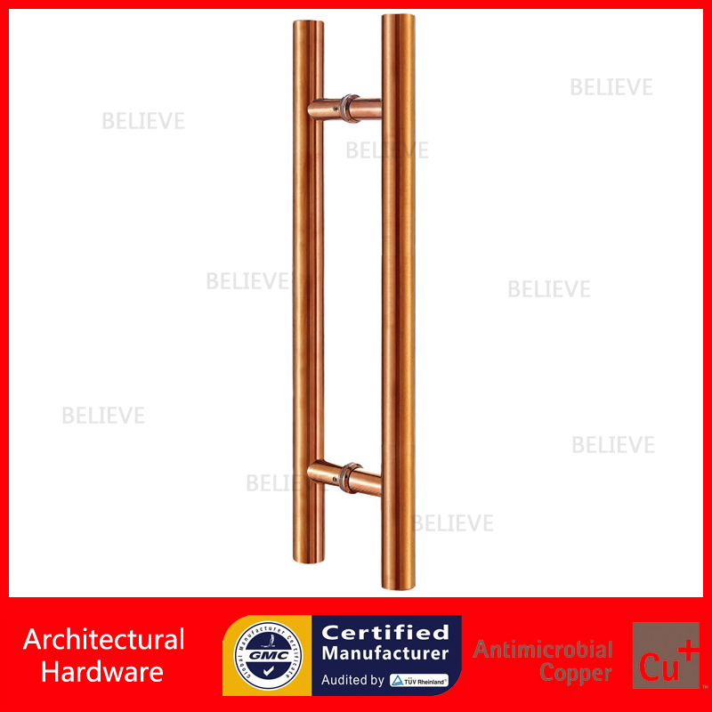 Modern Entrance Door Handle Stainless Steel Pull Handles PA-102 Rose Gold For Glass/Frame/Wooden Doors antimicrobial black solid nylon offset door pull handle for entrance glass wooden metal frame doors pa 797