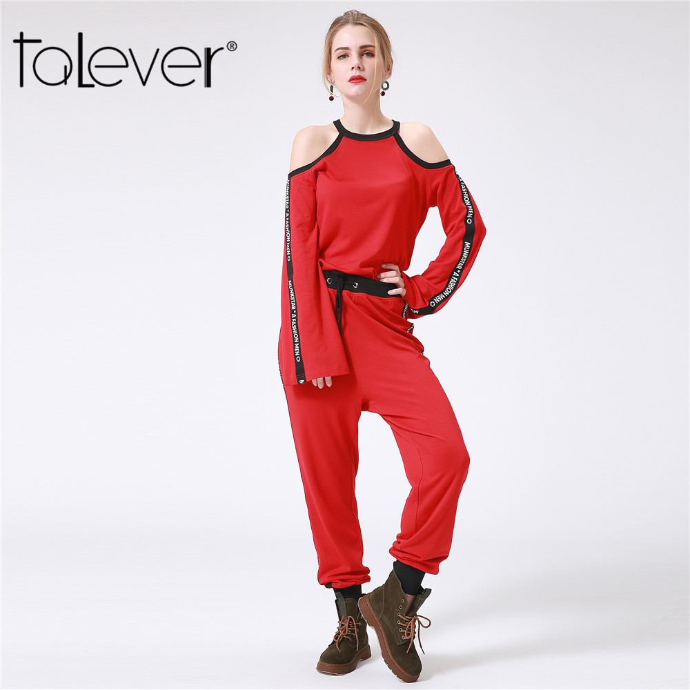 Red Two Piece Set Casual Clothing Off the Shoulder Long Sleeve