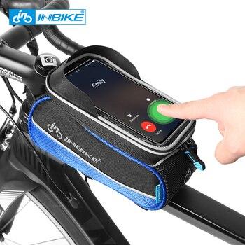 INBIKE จักรยานจักรยานกระเป๋า 6 นิ้วกรอบด้านหน้าด้านหน้าด้านบน Tube โทรศัพท์มือถือถุงจักรยาน MTB หน้...