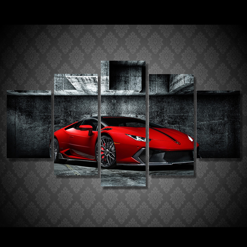 5 pcsset framed hd printed luxury super sports car drift picture wall art canvas