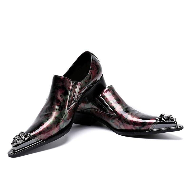 Homens Sapatos Artesanal Sl87 Envernizado Elegante Plus Os Casamento Mocassins De colorido Ponta Deslizar Festa Multi Sobre Apontado Homem Size Dedo Metal Couro Pista wgPPUA