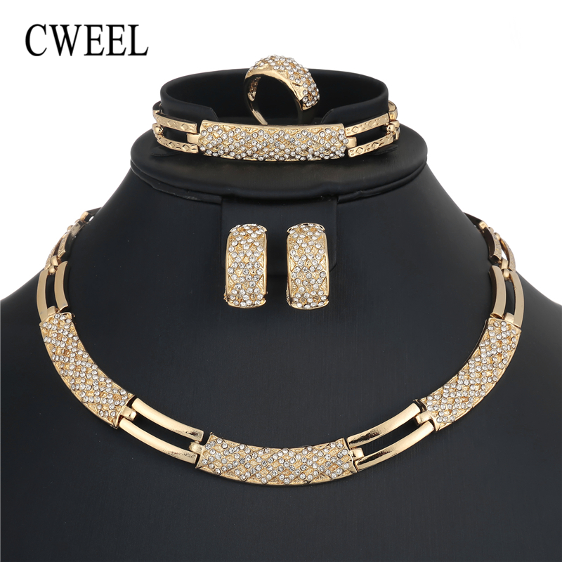 CWEEL African Beads Jewelry Set Luxury Wedding Jewelry Sets For Brides Women Costume Jewellery Statement Choker Necklace Set red color african beads jewelry sets two layer beads indian jewelry sets luxury statement choker necklace fashion jewellery