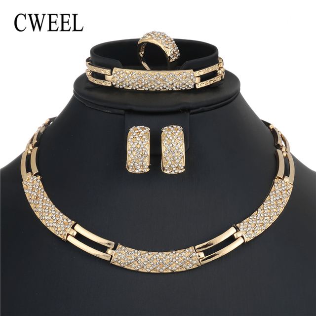 CWEEL African Beads Jewelry Set Luxury Wedding Jewelry Sets For Brides Women Cos