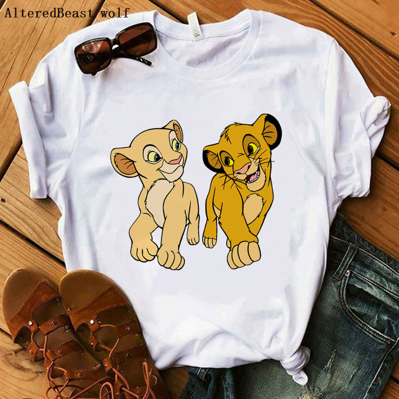 The Lion King Cartoon Print Short Sleeve T Shirt Women Two Little Lions Printed Vogue O Neck Tee Hakuna Matata Tee Shirt Femme