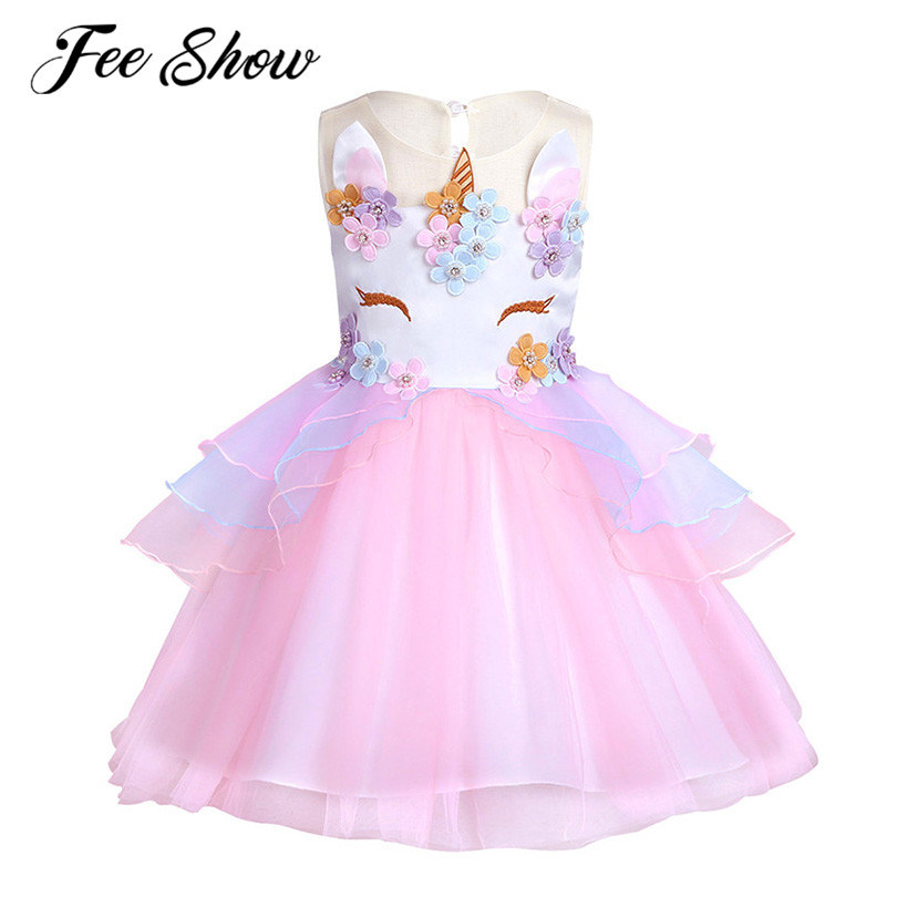 6 Months-10Y Baby Girl Unicorn Princess Dress Ball Gown Flower Girl Dress for Wedding Pageant Birthday Party Girls Clothes ball gown party pageant dress for girls wedding flower girl dress kids princess sleeveless clothes