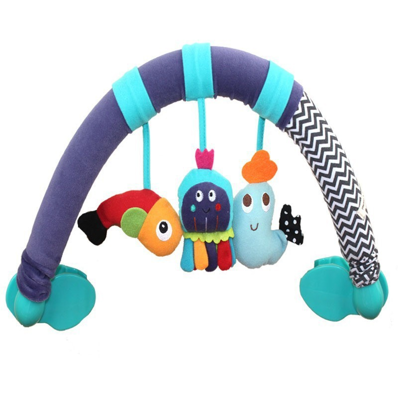 Direct Selling New Baby Bed Lathe Hanging Rattle Bell Animal Cotton Child Stroller Car Clip Hanging Toys WJ144