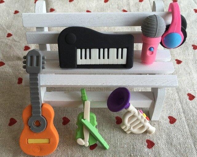 6 Шт./лот Милые Каваи Несколько видов Музыкальный Инструмент Резиновый Ластик Студент Обучение Канцелярские для Детей Творческий Подарок