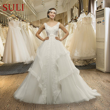 SuLi MZ-0058 Tiered V-neck Sleeveless Wedding Dress