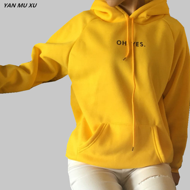 e5dcb07f14 OH YES New Sweater 2018 New Fashion Corduroy Long sleeves Letter printing  Girl Light yellow Pullovers Tops O-neck Woman Sweater
