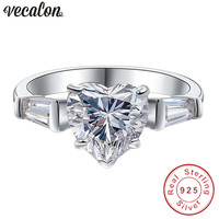 Vecalon Real 925 Sterling Silver ring Heart shape 5A Zircon Cz Stone Engagement wedding Band rings for women Bridesmaid Gift