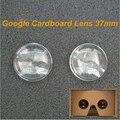 10 pçs/lote google papelão 2.0 lente de 37mm com 45mm de distância focal da lente vr para diy google papelão v2