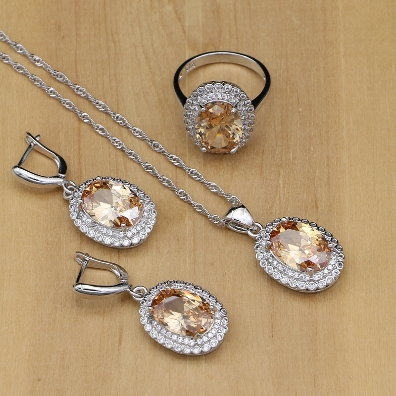 Bridal-Jewelry-Sets Necklace-Sets Pendant-Rings Cubic-Zirconia-Beads 925-Silver Mystic