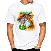 New Hip Hop Psychedelic Twilight Enligh Printed Men T Shirt Short Sleeve Casual Punk Skull T