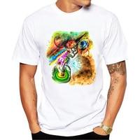New Hip Hop Psychedelic Twilight Enligh Printed Men T Shirt Short Sleeve Casual Punk Skull T