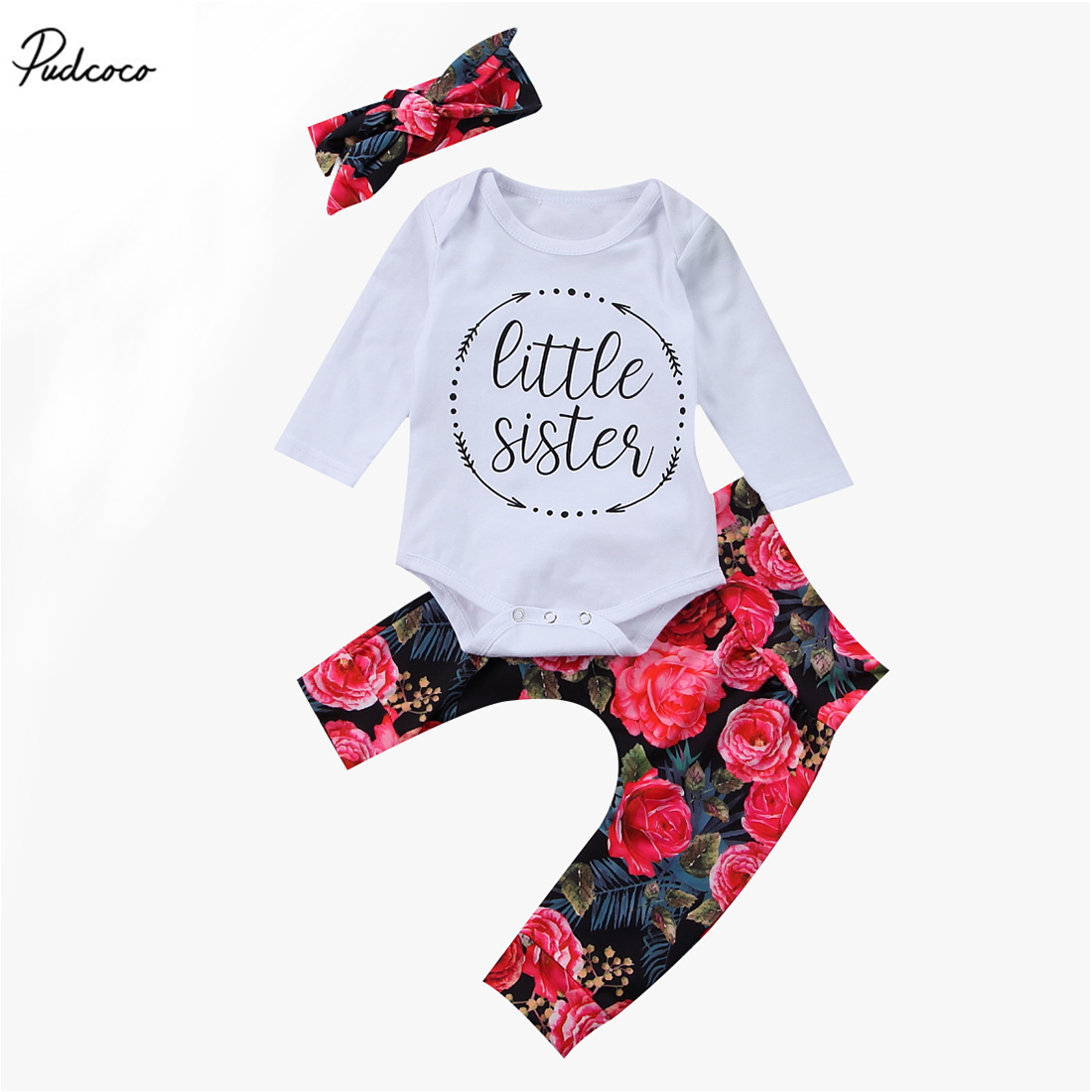 2017 New Cotton Newborn Baby Girls Little Sister Long Sleeve Tops Romper Flower Pants 3Pcs Outfits Set Clothes 0-18M newborn infant baby girl little sister romper pants headband outfits set clothes children infant girls sister clothing set 2pcs