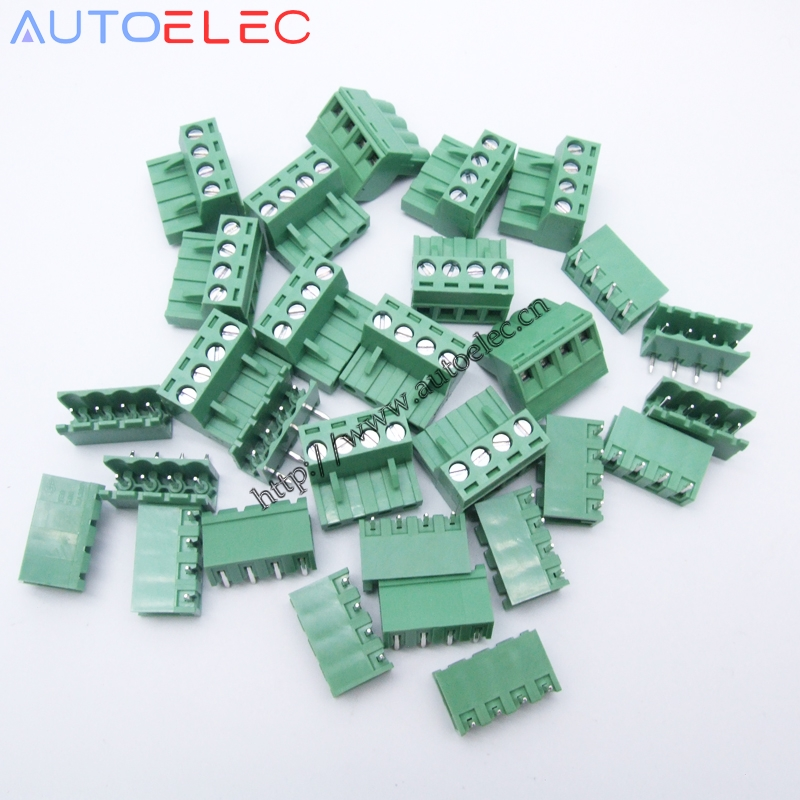 100sets Pitch 5mm 4Pins pcb terminal block Electrical Screw Terminal Block electrical connectors terminals wire connector