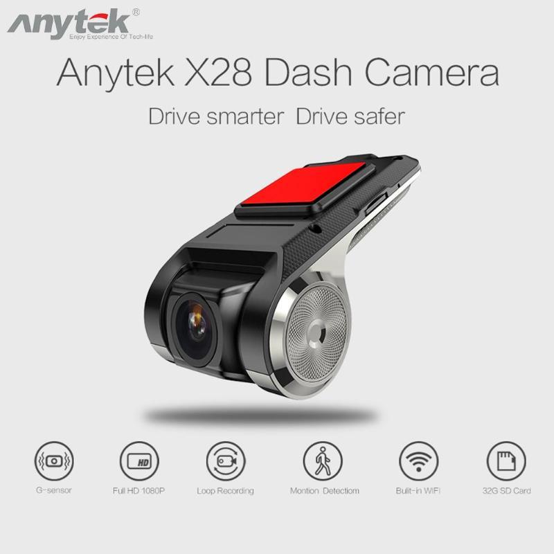 Anytek X28 Car DVR Camera 1080P FHD Lens WiFi ADAS Built-in G-sensor Video Recorder Car Dash Camera Car Electronics Accessories