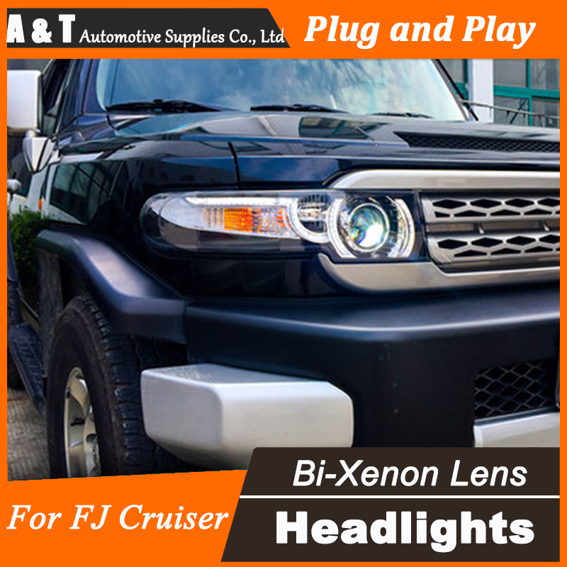 Car Styling for Toyota FJ Cruiser Headlight assembly New FJ150 LED Headlight Cruiser drl Lens Double Beam H7 with hid kit 2pcs. new distributor assembly 19020 15180 for toyota corona 8a 5afe 1 6l