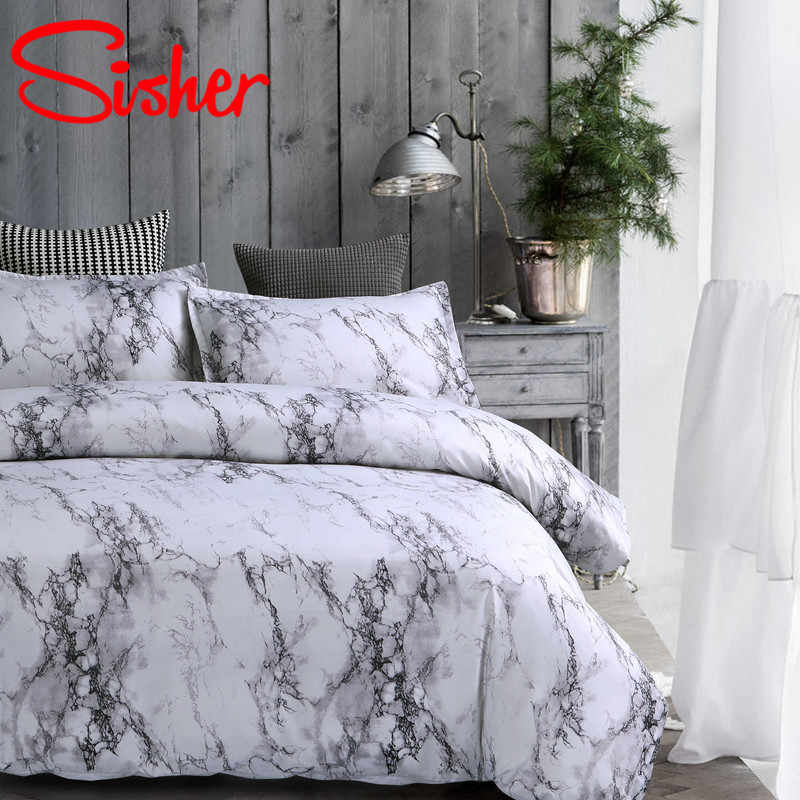 Sisher Modern Marble Print Comforter Bedding Set White Black Duvet Cover Single Double Queen King Size Bedclothes Quilt Covers