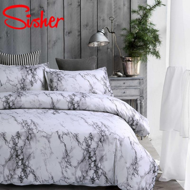 Sisher الحديثة الرخام طباعة طقم سرير أبيض أسود حاف طقم أغطية واحدة مزدوجة الملكة الملك الحجم المفارش لحاف لا غطاء سرير