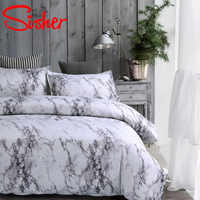 Sisher Modern Marble Print Bedding Set White Black Duvet Cover Sets Single Double Queen King Size Bedclothes Quilt No Bed Sheet