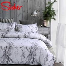 Sisher โมเดิร์นพิมพ์หินอ่อนชุดเครื่องนอนสีขาวสีดำชุดผ้านวมเดี่ยว Queen King ขนาดผ้าปูผ้านวมไม่มีเตียงแผ่น