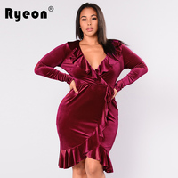 Ryeon Velvet Dress Plus Size Autumn Winter Ruffles Sexy Black Red Blue Tunic Vintage Long Sleeve