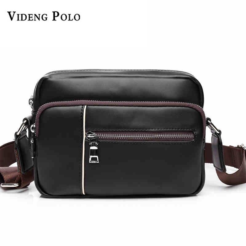 VIDENG POLO Brand PU Leather Small Men Messenger Bag Black Vintage Mens Crossbody Bags For Men Casual Shoulder Bag