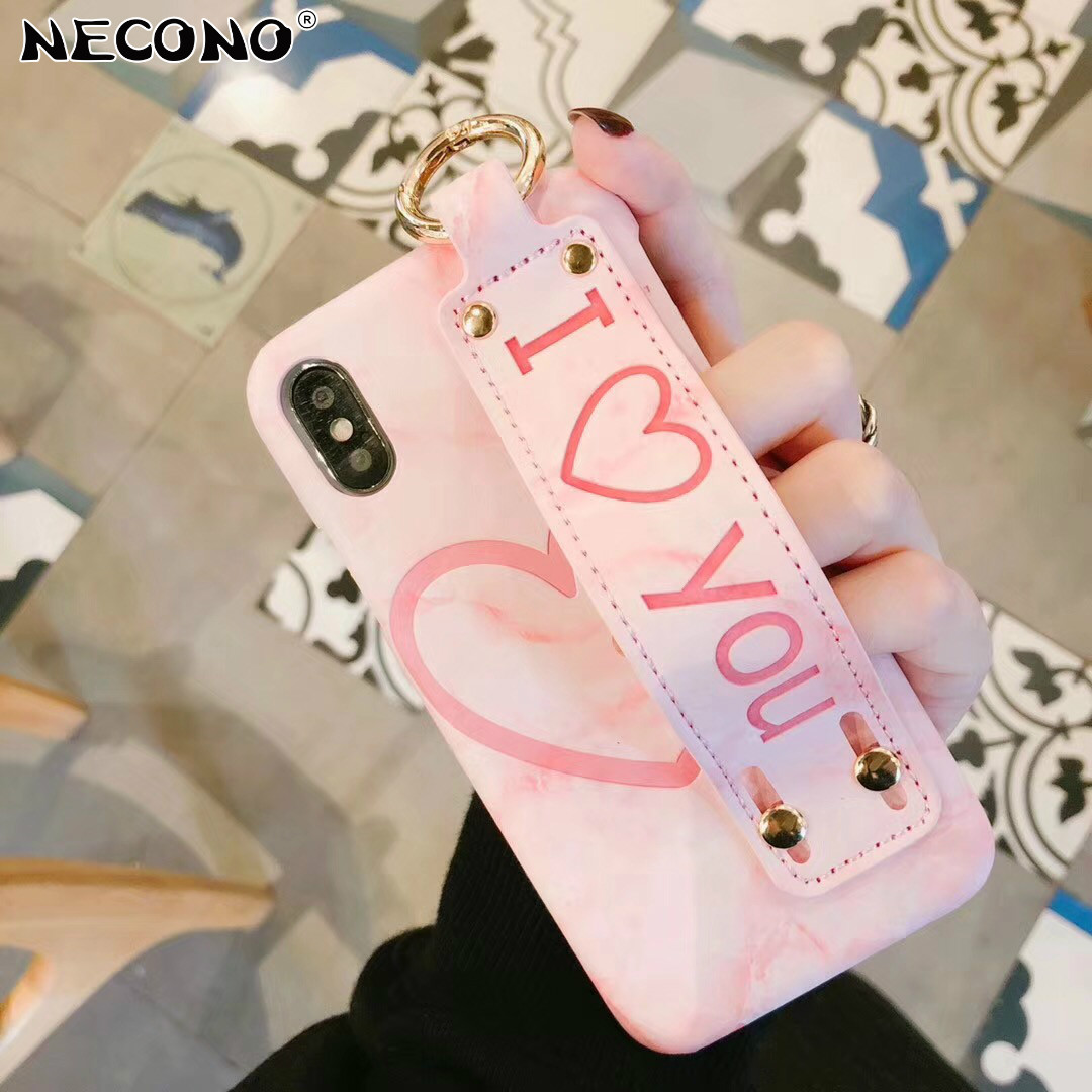 NECONO Phone Case For iphone X 8 8Plus 7 7Plus 6 6s 6Plus 6sPlus Love Heart Marble Pattern Hand Strap PU Leather Back Cover Case