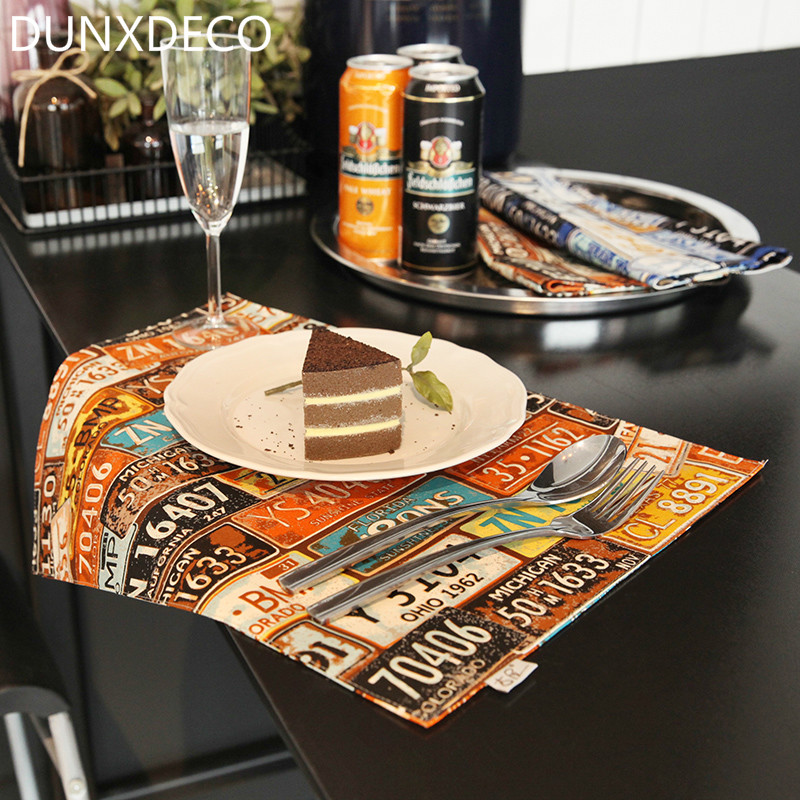 dunxdeco 2pc 32x45cm american style creative unique car plate canvas fabric table plate placemat party kitchen table cover decor - Kitchen Table Mats