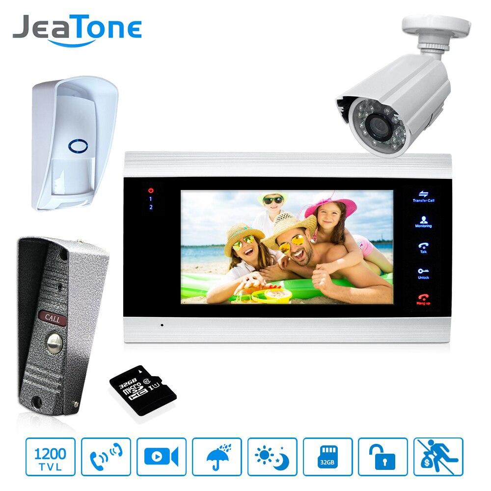 7 ''Interphone vidéo Sonnette Interphone Avec Extra Caméra Extérieure/PIR/32g Carte De Contrôle D'accès système De Détection De Mouvement