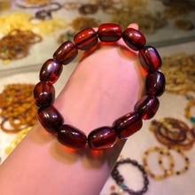 100% genuino Natural sangre rojo piedra preciosa ambarina cristal barril 17x12mm cuentas para mujeres señora Stretch pulsera AAAAA Drop Shipping