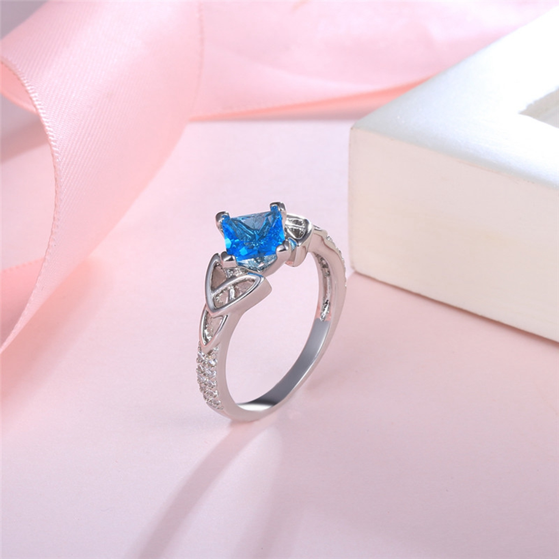 Luxury Blue Square Cut Cubic Zirconia Crystal Ring Silver Color ...
