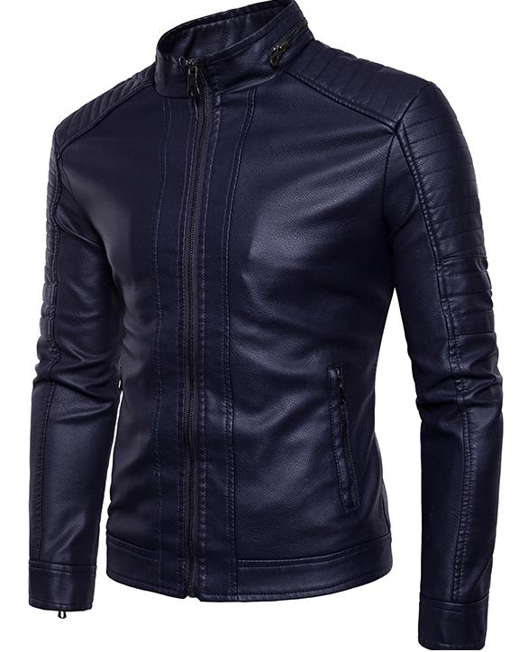 2018 New Spring And Autumn Korean Mens Pu Leather Jackets Mens Fashionable Casual And Cashmere Leather Jacket