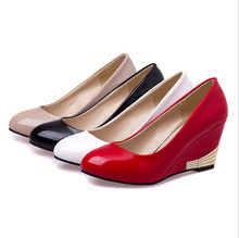 New Classic HOT Shoes Party Leather Pumps Low Mid OL Ladies Evening Platforms Round Work Women High Heels Wedge Shoes