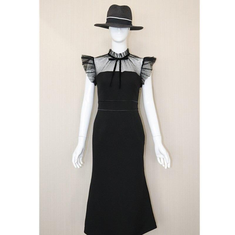 e75ddced310 Plissée Mince D été Noir Manches Femme Courtes Pour Nouveauté Fête Couture  Black De Fils Élégant Col Robe ...
