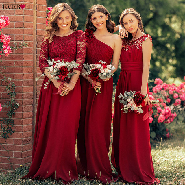 Ever Pretty Burgundy Bridesmaid Dresses Long Chiffon Applique Cheap Floor Length Wedding Bridesmaid Gown Formal Party Gowns 1