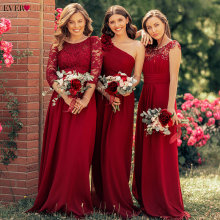 Ever Pretty Burgundy Bridesmaid Dresses Long Chiffon Appliqu