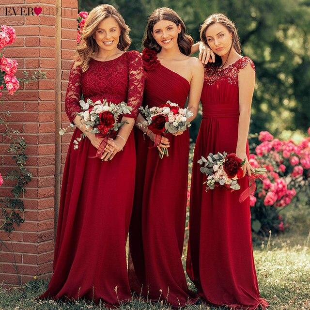 Kiedykolwiek dość burgundowe sukienki druhen długi szyfonowy aplikacja tanie piętro długość druhna ślubna suknia formalne sukienki na przyjęcie