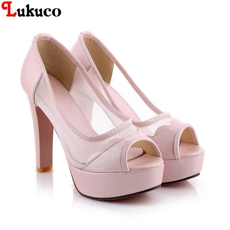 ФОТО New mesh and high quality PU vamp seasons shoes Size 40 41 42 43 peep-toe design fashion lady pumps free shipping