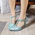 Señora tallas grandes (4-19) colores de La Mezcla Cubierta T-correa de punta estrecha de tacón Finos Lentejuelas alta sandalias de tacón Partido Nigh club de zapatos de las mujeres bombas