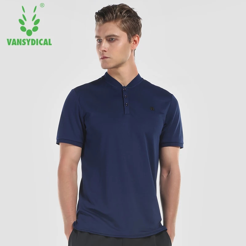 Vansydical Mens Running T-shirts Sports Polos Tops Short Sleeve jogging Outdoor Workout Tennis Fitness Golf Sportswear Jerseys