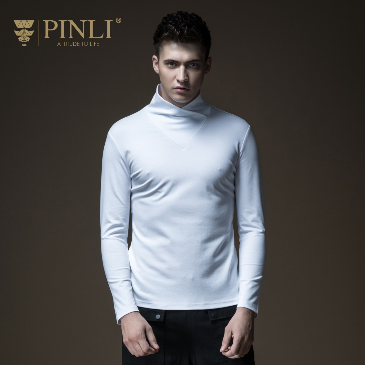 2019 jeu de trône complet Palace Pinli Pin Li automne nouveau Style hommes col Slim, pur à manches longues T-shirt vestes B183311084